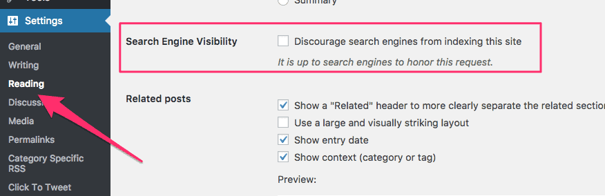 Search Engine Visibility in WordPress settings