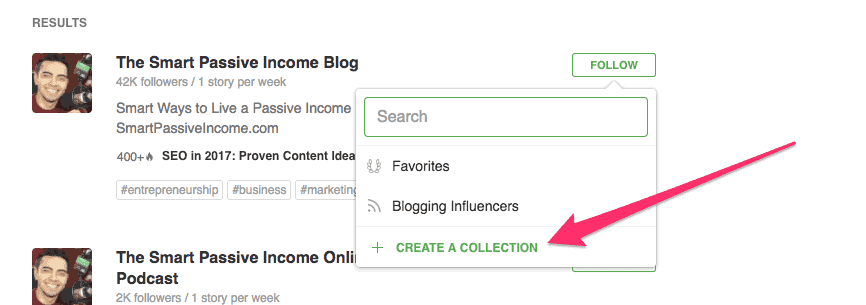 create a Collection in Feedly