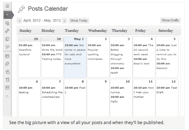 WordPress Content Calendar screenshot