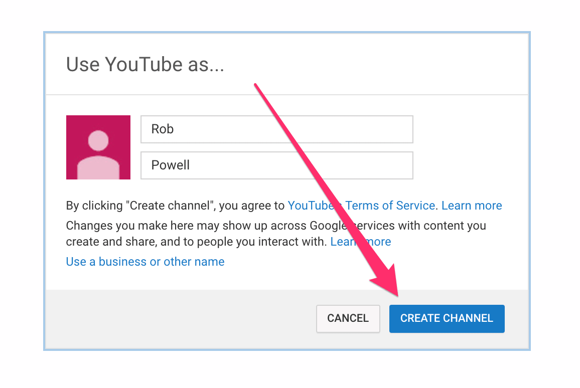 how to setup a youtube channel