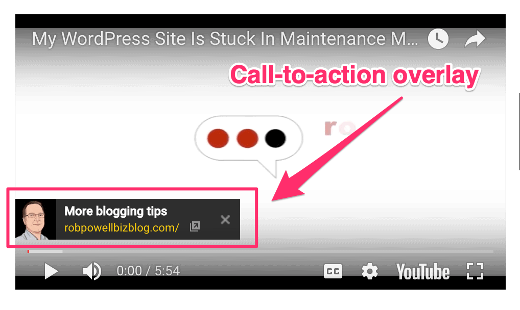 Adding a Call To Action Overlay to YouTube Videos