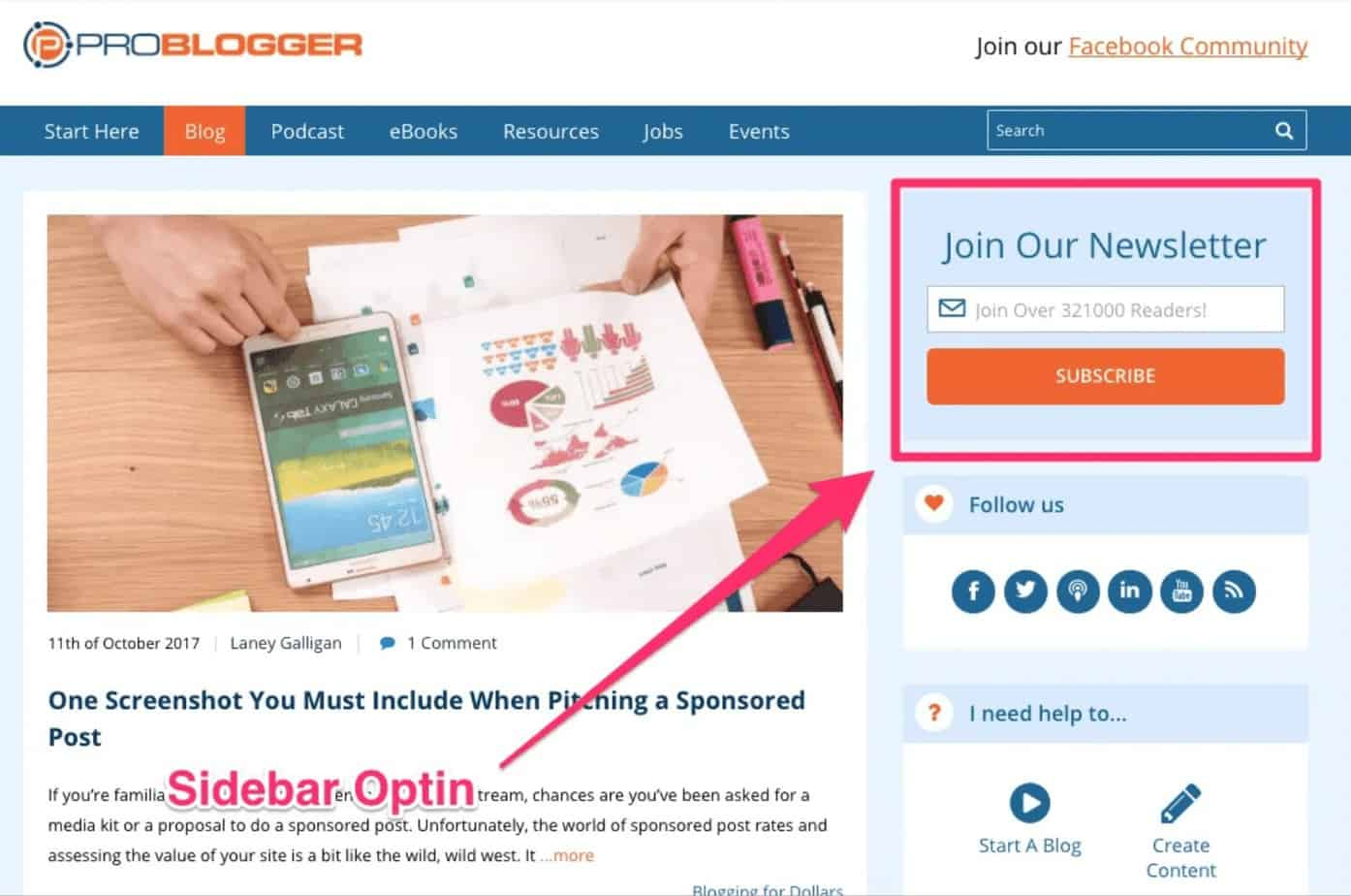 email marketing sidebar optin