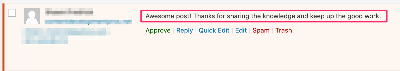 example of comment spam