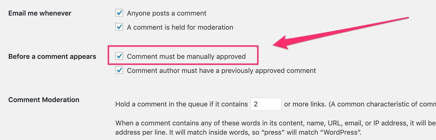 manual approval for commenst