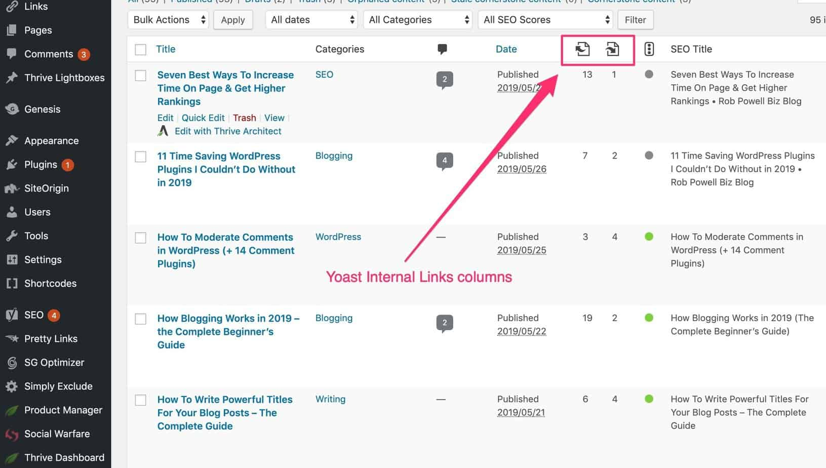 how to do an audit of internal links in WordPress