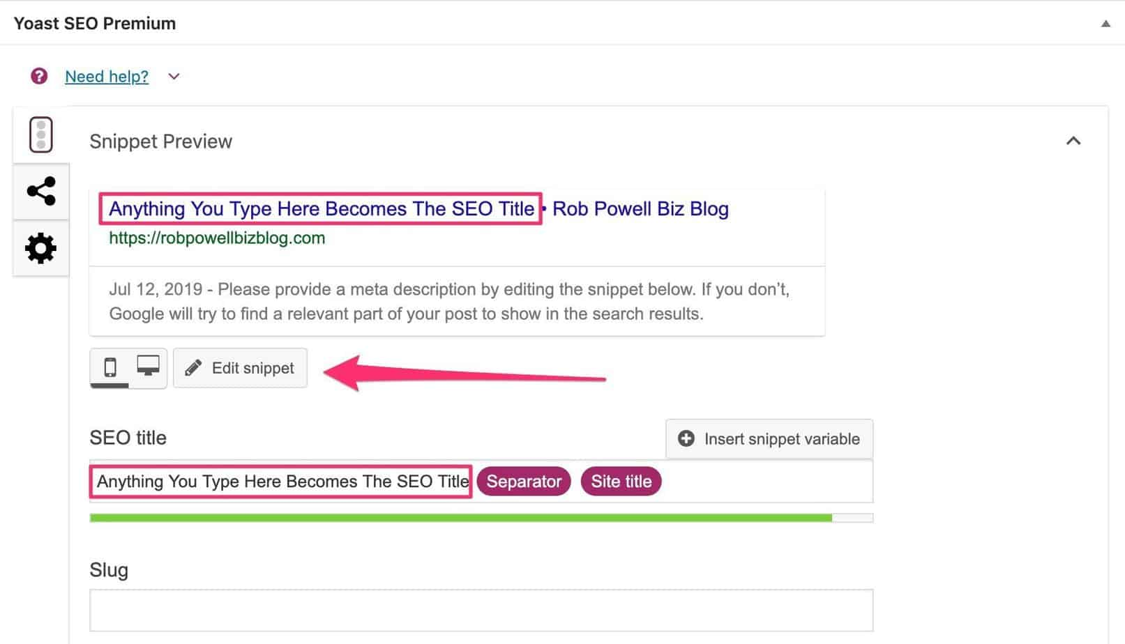 modifying the SEO title in Yoast
