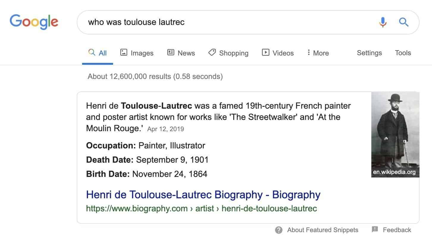example of a featured snippet