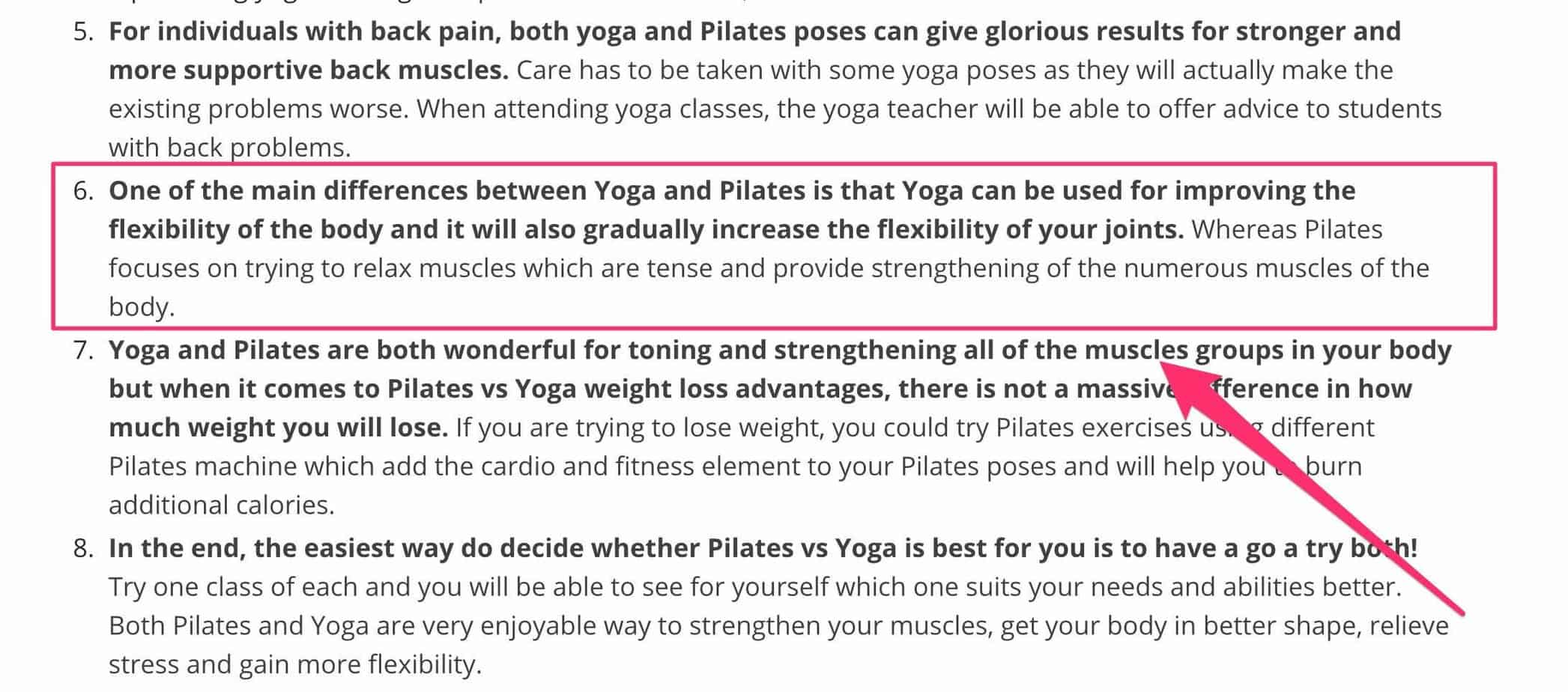pilates vs yoa - analysis