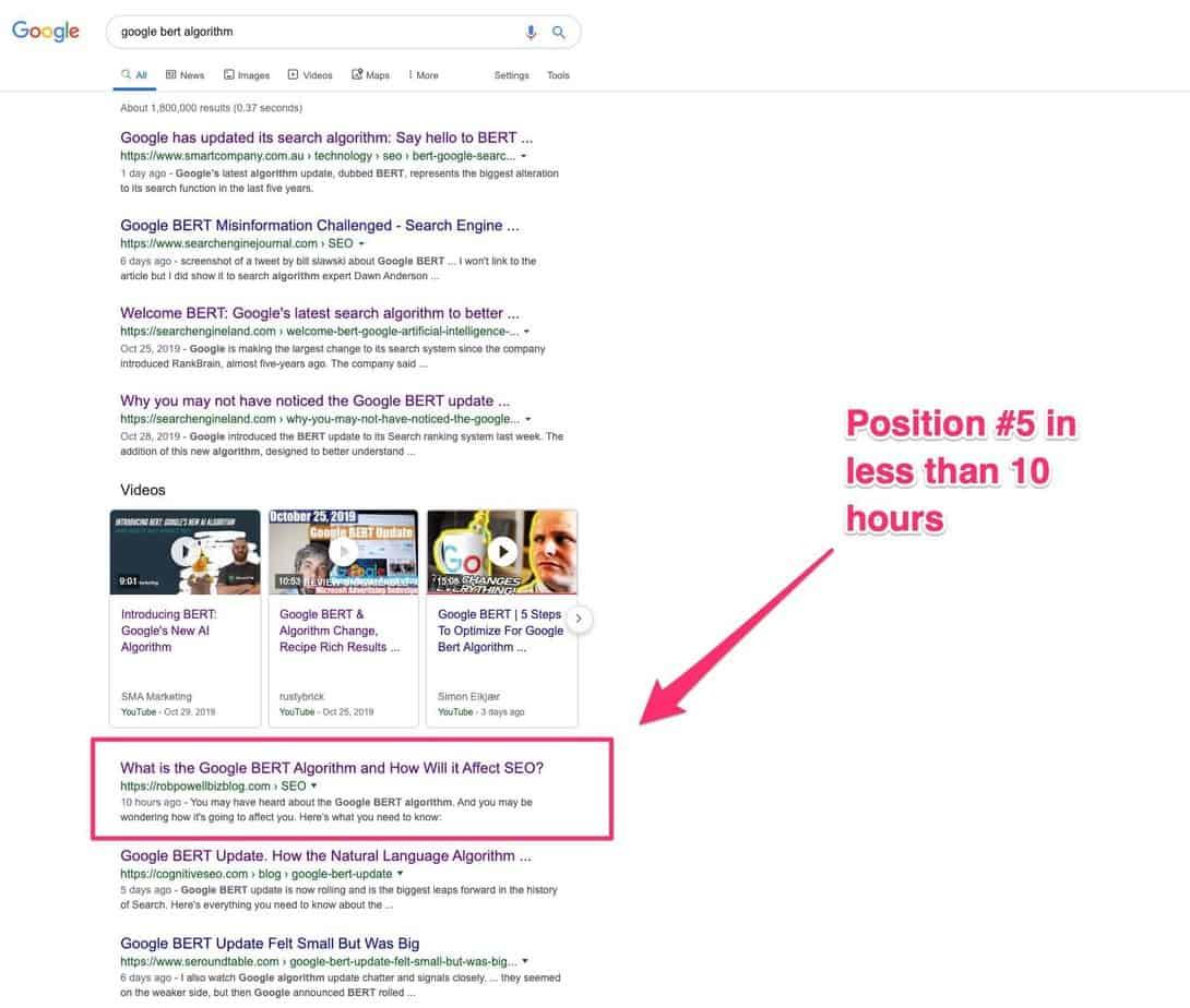 ranked for google bert algorithm
