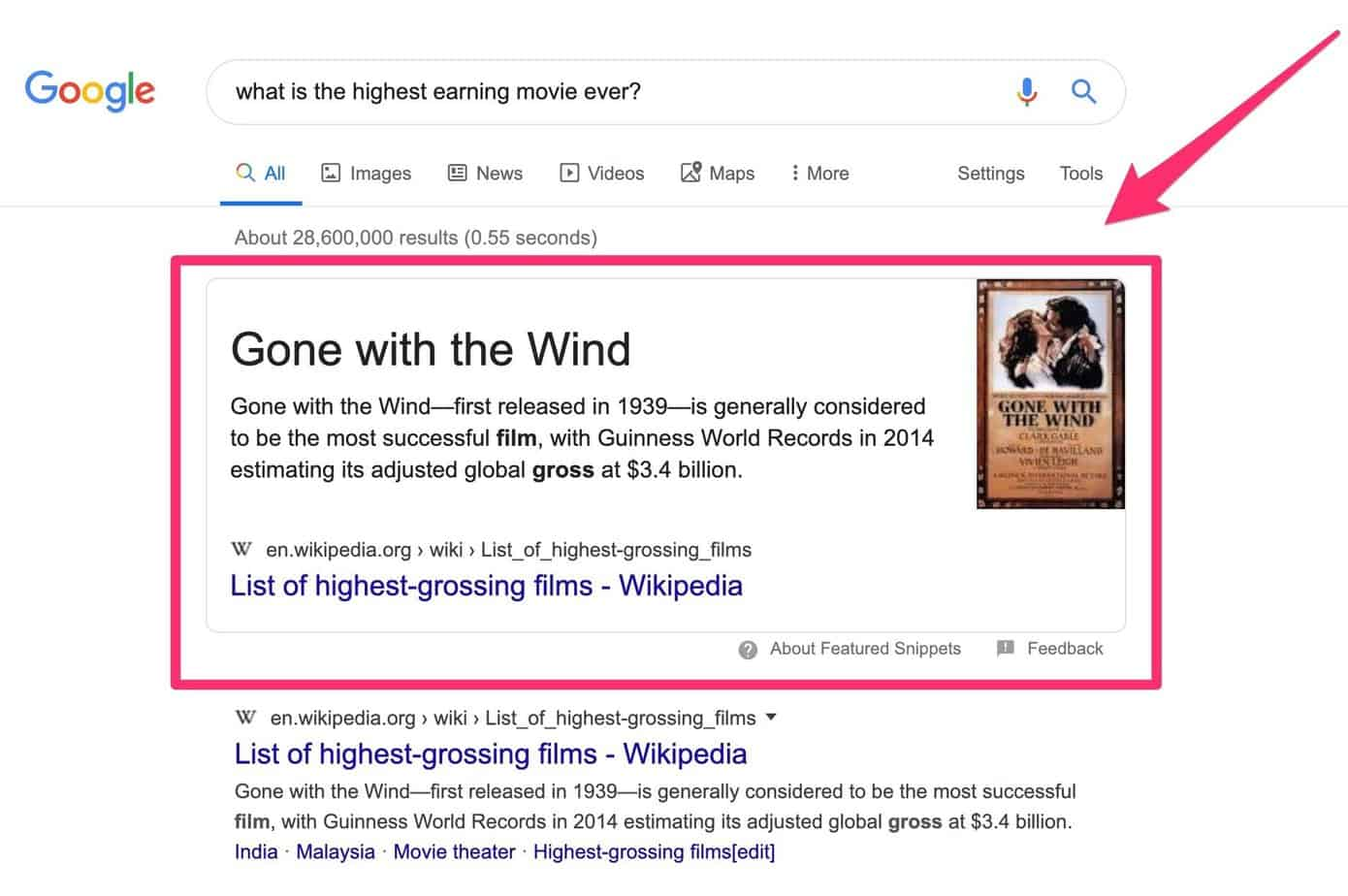Google SEO trends for 2020 - example of a zero-click search