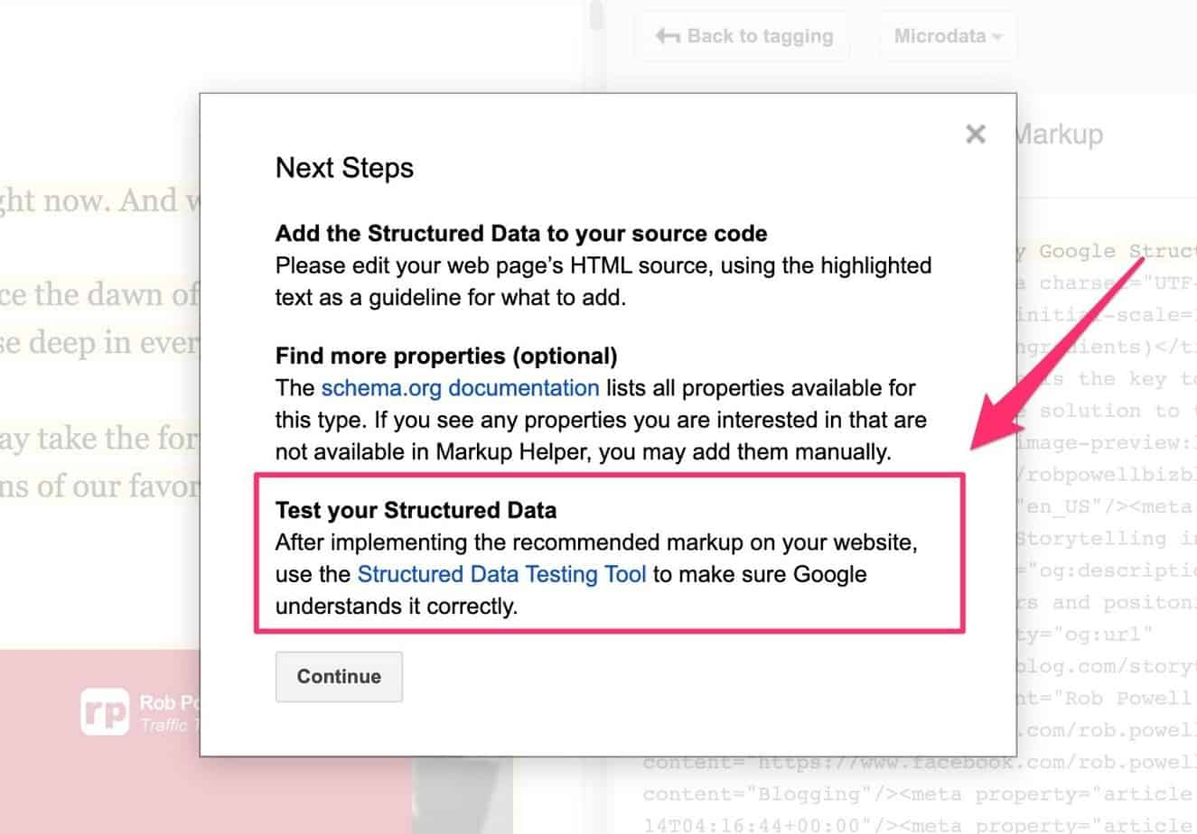 Google's structured data testing tool