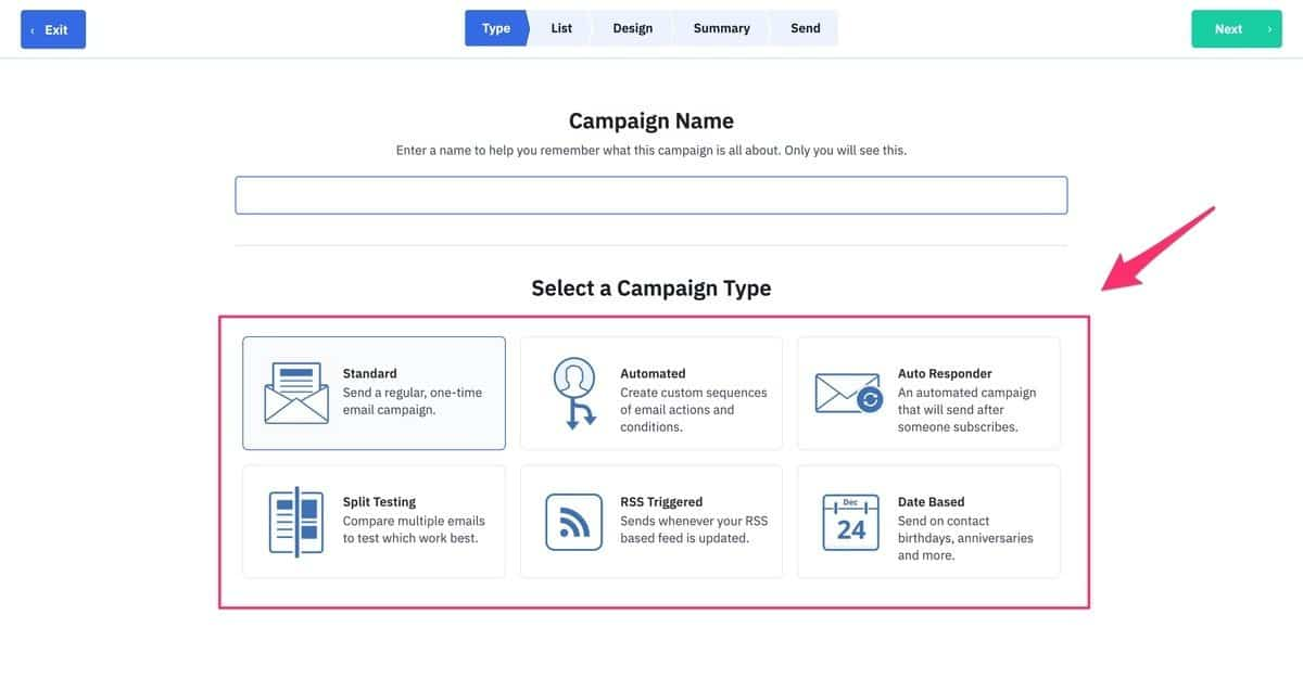 email marketing service activecampaign - campaign types