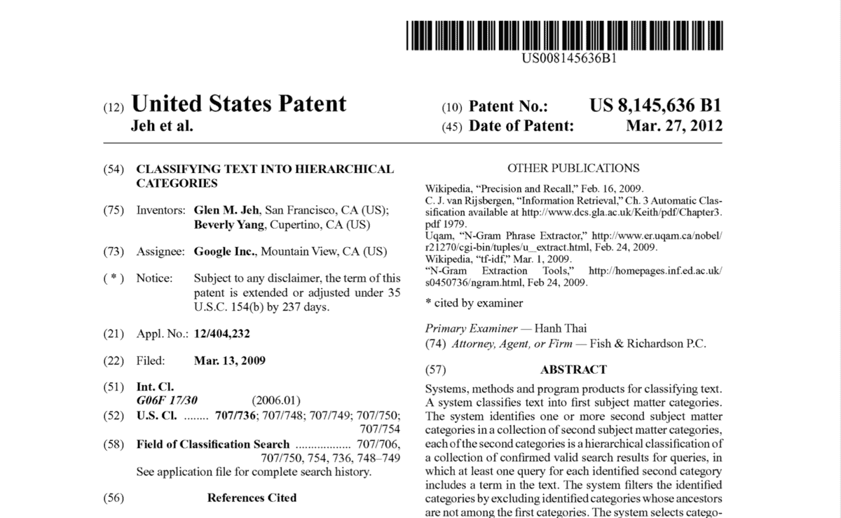 Google patent application, 2009