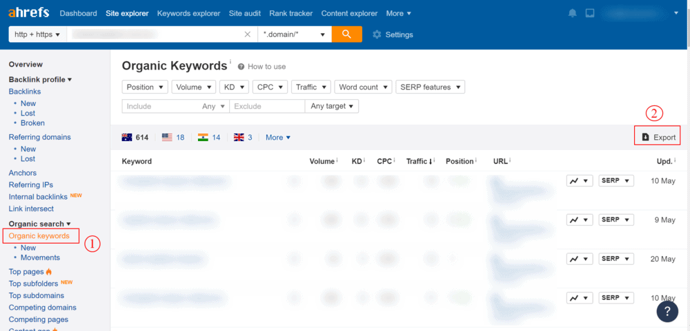steal competitor keywords in ahrefs
