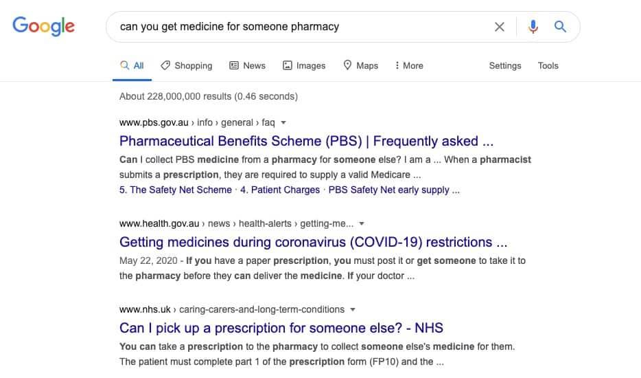 example of Google BERT query
