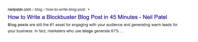 an SEO title that makes a promise