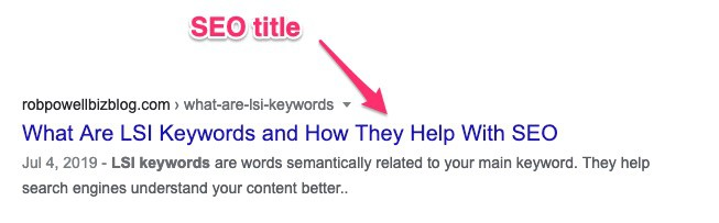 seo friendly blog posts - example of an SEO title