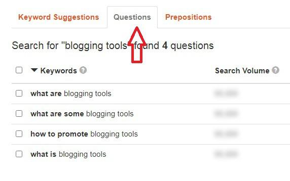 keyword tool - questions
