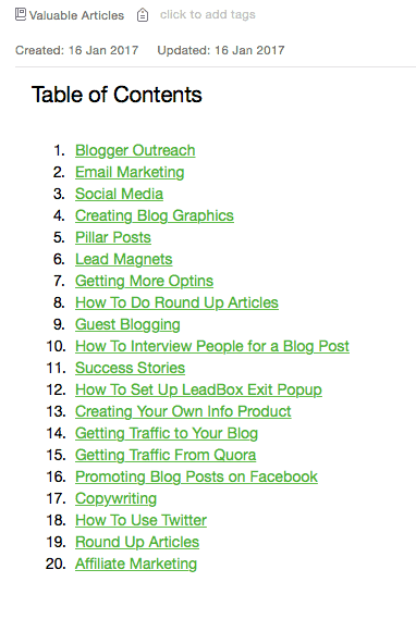use evernote to organize content