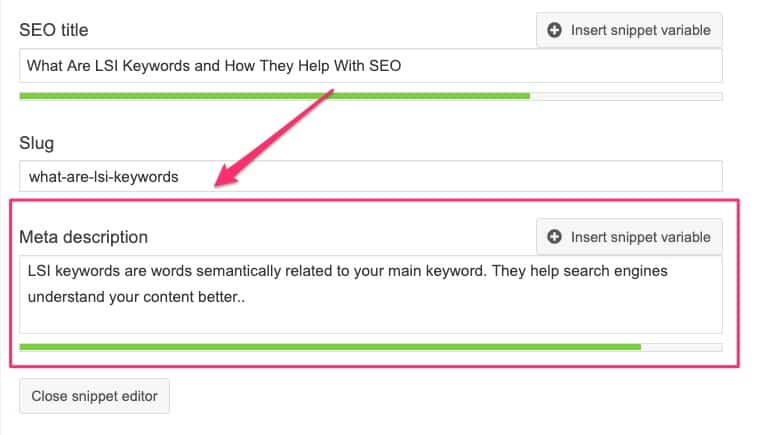 Yoast SEO plugin - meta description