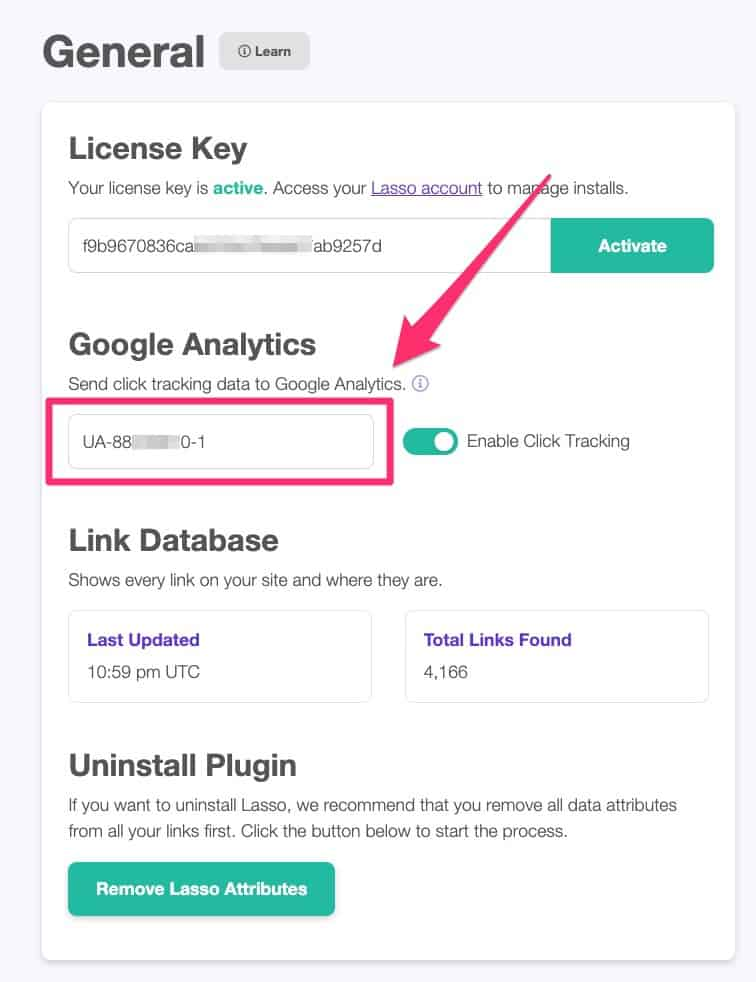Google Analytics integration with Lasso