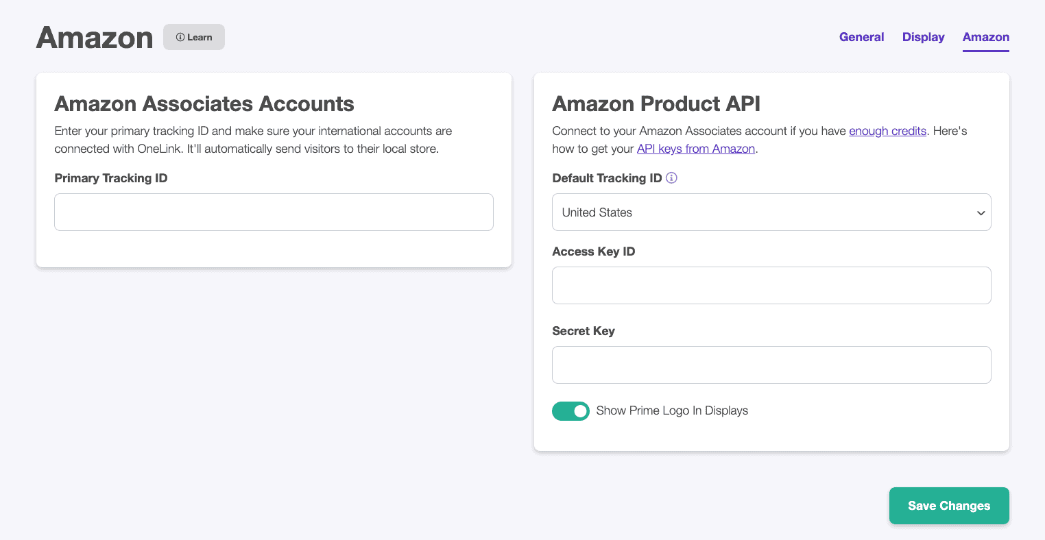 amazon api keys for lasso