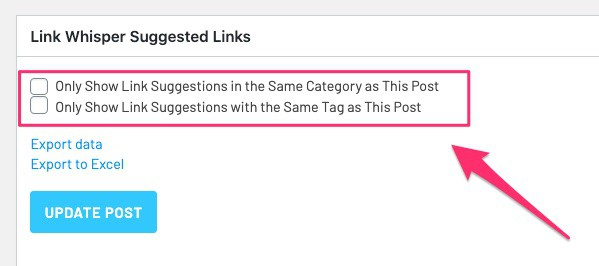 Link Whisper - category and tag settings