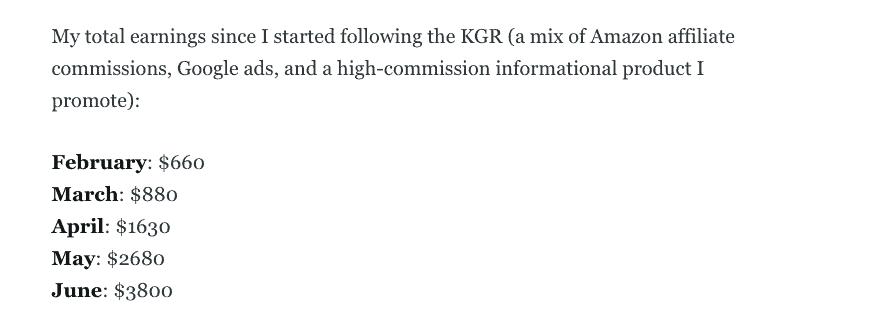 Eva Porter affiliate earnings using KGR technique