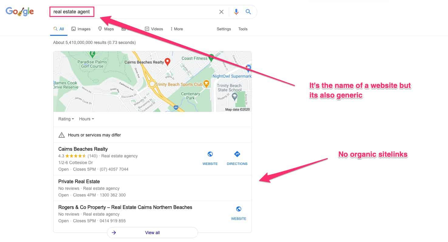 branded search with no home page sitelinks