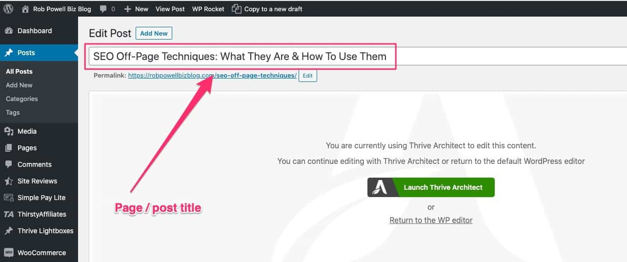 he page title in WordPress