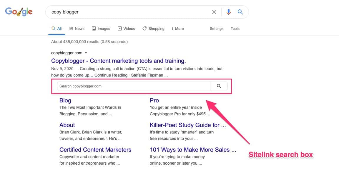 sitelink search box