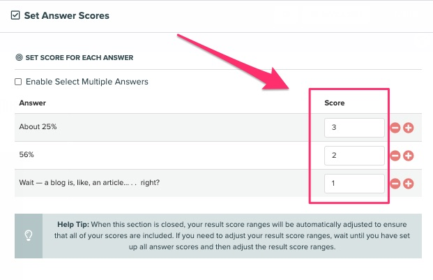 setting the scores for the answers