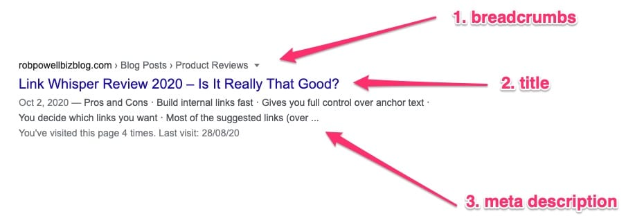 example of a SERP snippet