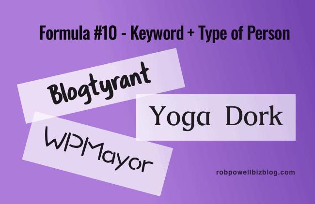 Formula 10 - Keyword plus type of person