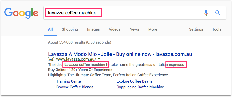 how to find lsi keywords - look for bolded words in Google Search