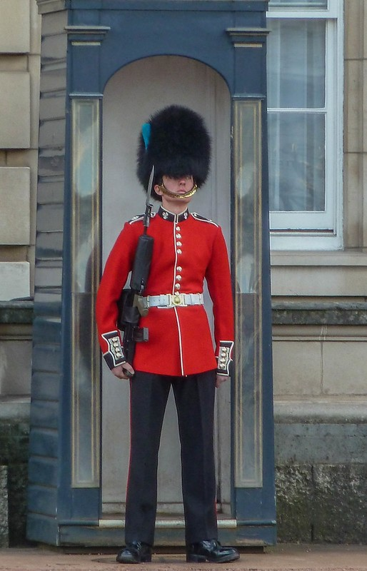 Grenadier Guard stading at atention outside Buckingham Palace