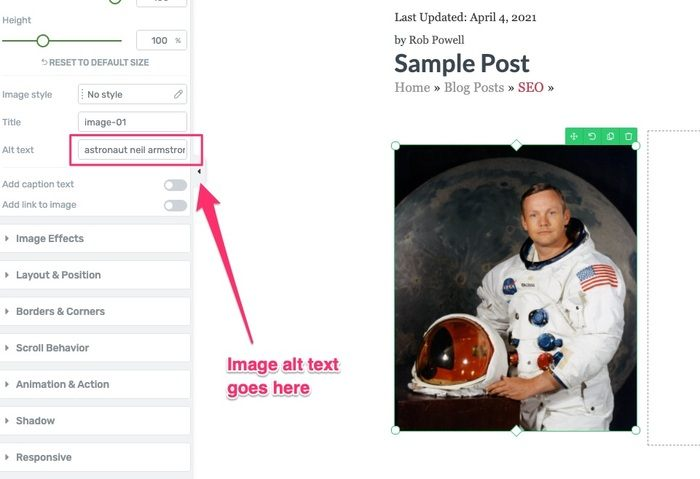 inserting image alt text in wordpress