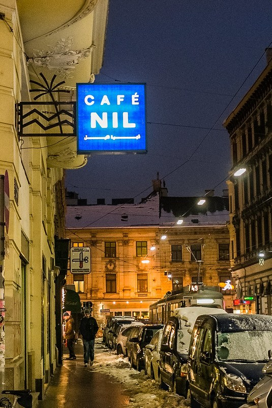 Sign for Cafe Nil, Siebensterngasse 39, 1070 Wien, Austria