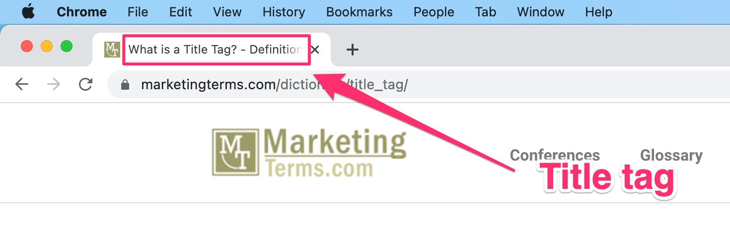 example of how a title tag displays in a browser tab