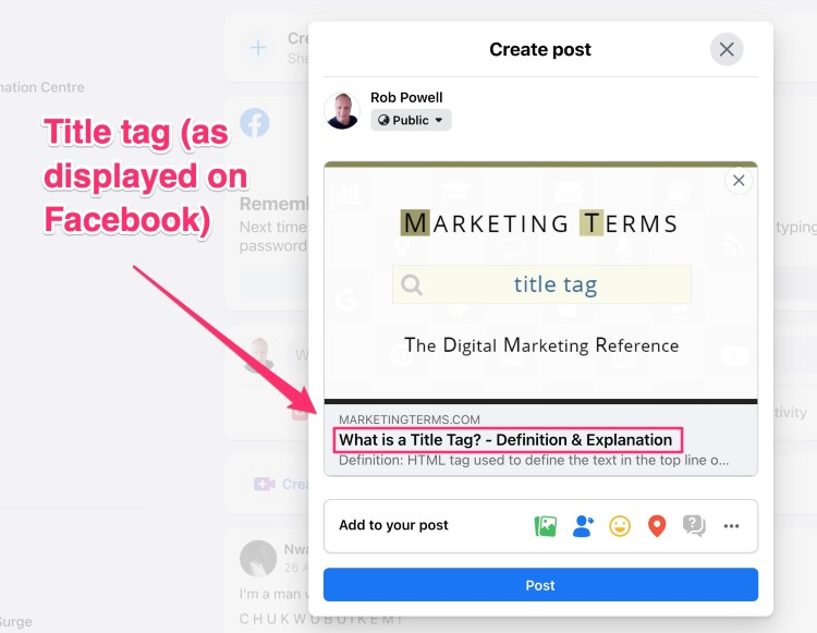 example of how the title tag displays in a social media post