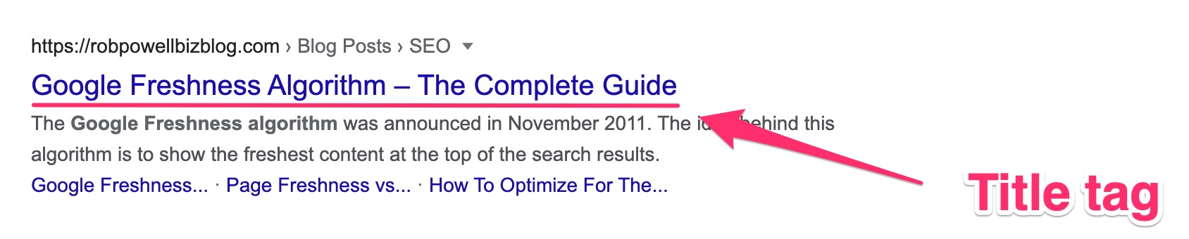 the title tag is a clickable link in the SERP snippet