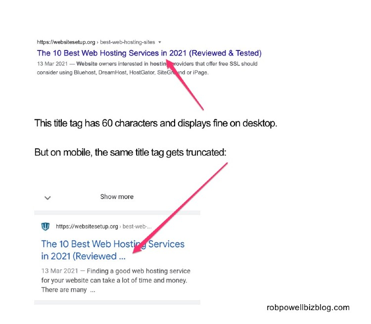 title tags that display fine on desktop can get truncated on mobile