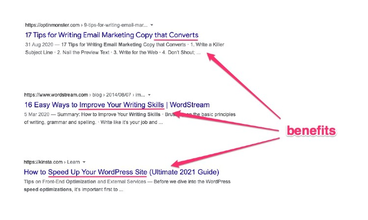 examples of title tags containing a benefit