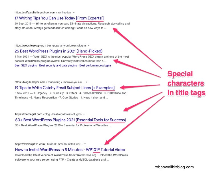 examples of special characters in SERP snippet title tags