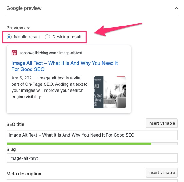 in Toast SEO plugin, you can preview your title tag on desktop and mobile