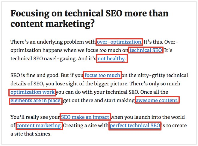too much emphasis on technical SEO