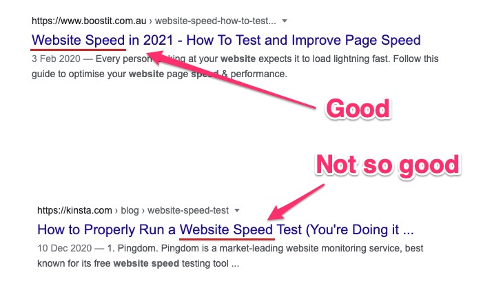 place keyword at start of SEO title