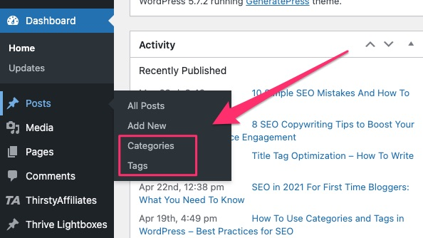 WordPress SEO Tips - categories and tags