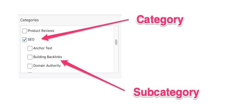 categories and subcategories in WordPress