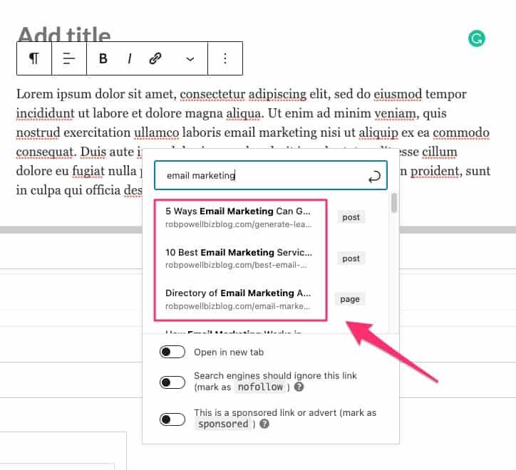 how to create internal links in WordPress
